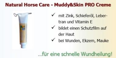 Muddy & Skin PRO Creme bei Wunden, Mauke, Ekzemen und Schwerstellen beim Pferd.